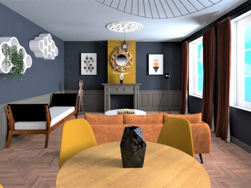 Visuels 3D de la décoration d'intérieur d'un salon dans un appartement Bourgeois Parisien réalisée par l'agence DECOVALOR