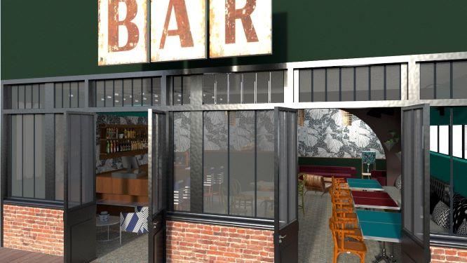 Visuels 3D d'un projet d'aménagement complet d'un Bar  Restaurant par l'agence d'architecture interieure DECOVALOR