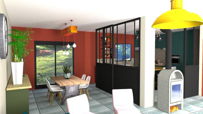 Visuels 3D d'un projet de rénovation complète d'une pièce à vivre dans une villa