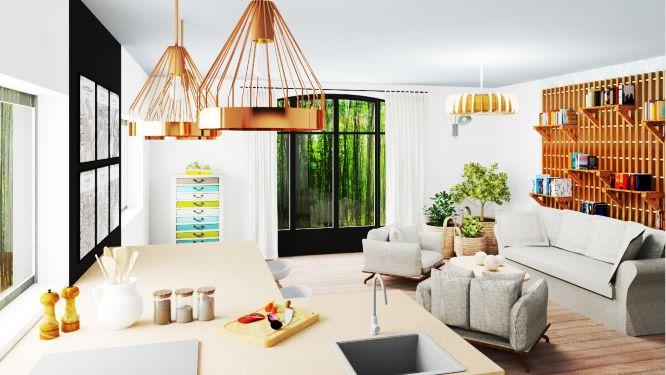 Visuels 3D d'une maison rénovée dans un esprit naturel, cosy et lumineux